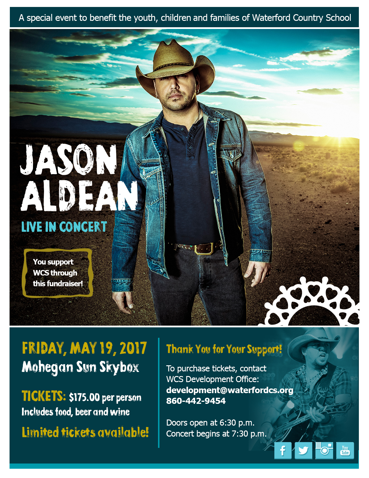 Jason Aldean fundraiser to benefit Waterford Country School skybox tickets for may 19 show